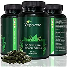 Bio Spirulina + BIO Chlorella 375mg | 180 cápsulas de espirulina y chlorella ecológica y orgánica | antioxidante - proteinas - sistema inmune - detox | Vegano | 6 meses Vegavero