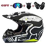 MMRLY Motorcycle Motorrad Motocross Helme, MX-Scooter ATV Helm D.O.T zertifizierte Rockstar-Verteilerbrille Offroad-Mschuhe und-Maske (S M L XL),M