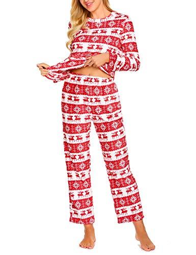 MAXMODA Damen Nachtwäsche Weihnachten Schlafanzug Winter Lang Schneeflocke Pyjama Set Jumpsuits Hausanzug Flanell Kostüme Rot ()