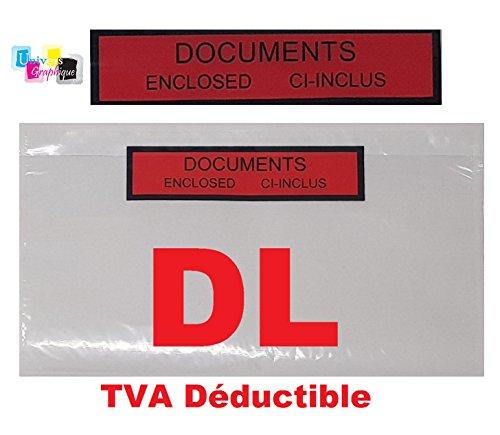 Pochette porte document ci-inclus format DL (A4 plié en 3) adhésives transparente imprimé documents ci-inclus Enclosed Pochette Expédition DL 225 x 122 mm
