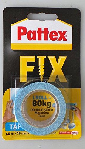 Pattex Fix Coller Au Lieu de percer Ruban adhésif double face 1,5 mm x 19 mm intérieur & extérieur 80 kg