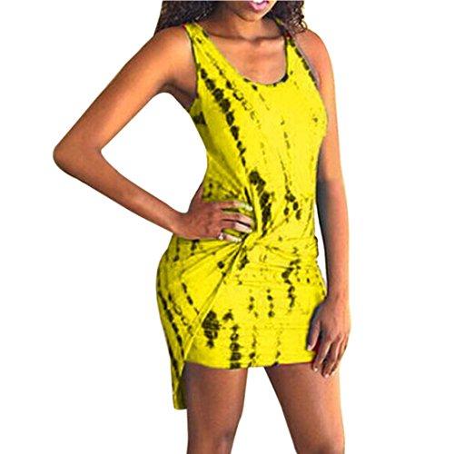 QIYUN.Z Frauen Sleeveless Gedruckte Schwalbenschwänzigen Unregelmässigen Rands Kurzen Mini Figurbetontes Kleid Gelb
