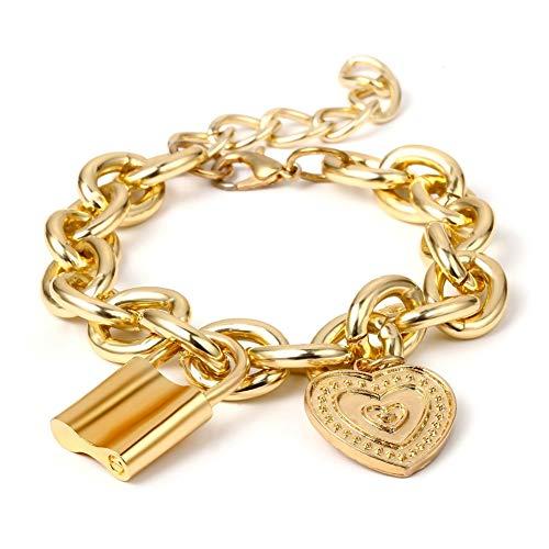 JZTRADING Schloss Chokerkragen Armband Set Anhänger Klassische Einstellbar Einfache Kette Halskette Für Damen Mädchen Frauen Party Zubehör (Gold ()