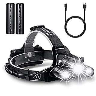 Rechargeable Head Torch, Super Bright CREE LED Headlamp, Waterproof Focusable Headlight, Best Head Lamp for Cycling, Climbing, Camping, Dog Walking, Hiking (USB Cable Included)