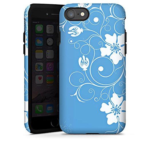 Apple iPhone X Silikon Hülle Case Schutzhülle Muster Blume Blau Tough Case glänzend