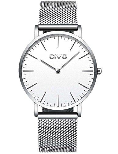 CIVO Herren Damen Unisex Uhren Ultra Dünne Minimalistische mit Edelstahl Mesh Armband Wasserdicht Luxus Mode Armbanduhr Elegant Geschäfts Beiläufig Analog Quarz Uhren (Silber)