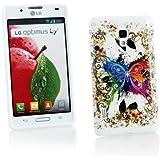 Kit Me Out ES Funda de gel TPU para LG Optimus L7 2 P710 - Blanco Mariposa de colores