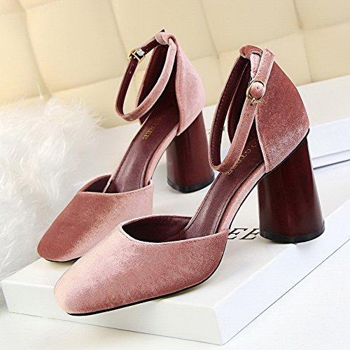 LGK&FA Scarpe Con I Tacchi Alti Scarpe Con Ruvida Scarpe Scamosciate Cava Fibbia Di Parola 36 Rosso 35 Pink