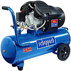 Scheppach 5906102901 Kompressor HC53DC   + Tank 50l, Druckminderer, Kupplungen, Manometer / Doppelzylinder / Fahrvorrichtung / Leistungsstark (3,0 PS Motor / Abgabe 272 l/min / 41 kg / 230 V/ 10 Bar)