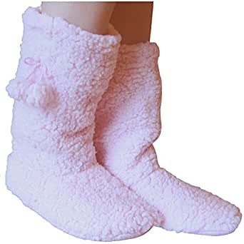 Ladies Fleece Lined Thermal Super Soft Fluffy Winter Slipper Boots (Baby Pink)