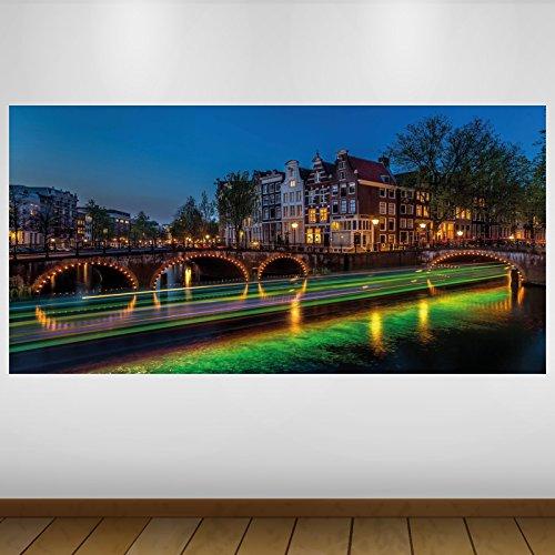 LagunaProject Extra Grand Amsterdam Canal Vert Vinyle Ville Lumières Sticker Autocollant Affiche Poster -140cm x 70cm