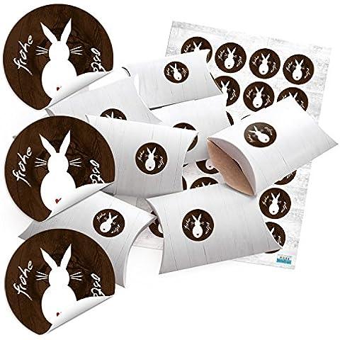 '24pequeñas cajas de regalo aspecto de madera color blanco con adhesivo