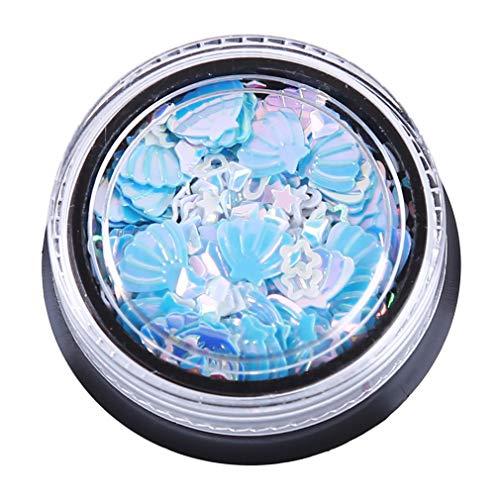 Pinhan Mermaid Shell Form Nail Art Dekorative Glitter Patch Meerjungfrau Shell Real Ring Nagellack Nagel Dekoration Werkzeuge, Modell 8 -