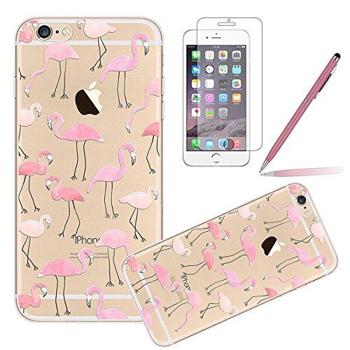 iPhone SE Silicone Case,iPhone 5S Coque,iPhone 5 Case - Felfy Coque Souple Transparente Gel TPU Soft Silicone Case Motif Design Premium Ultra-Light Ultra-Mince Skin de Protection Anti-Choc Bumper Hous Rose Flamingos
