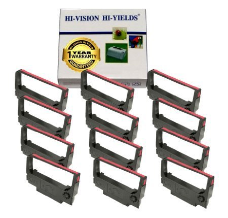 Hi-Vision Kompatibel ERC 30/34/38(Schwarz/Rot) Farbband Ersatz (12Pack) für erc-30, M119Leinwandbild, m119b, m119d, m133a, M270, m52jb, it-u375, tm-200, tm-260 - U220-serie