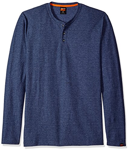 Denim Heather (Timberland PRO Men's MAD As Henley Long Sleeve Shirt, Denim Indigo Heather, Medium)