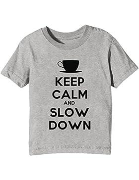 Keep Calm And Slow Down Niños Unisexo Niño Niña Camiseta Cuello Redondo Gris Manga Corta Todos Los Tamaños Kids...