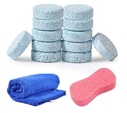 Auto Reinigung Brausetabl, Windschutzscheibe Waschmaschine Tablets mit Auto waschen Schwamm Car Wash Mikrofaser-Handtuch für Auto/Möbel Reinigung (14Stück)
