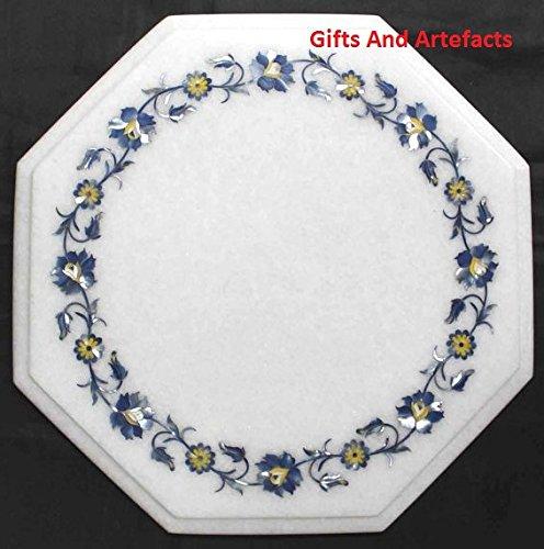 Gifts And Artefacts 30,5cm Octagon weiß Marmor Lapis Lazuli Stein Inlay einfach Art Ende Tisch Top