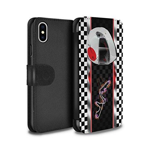 Stuff4 Coque/Etui/Housse Cuir PU Case/Cover pour Apple iPhone X/10 / Brésil/SãoPaulo Design / F1 Piste Drapeau Collection Japon/Suzuka