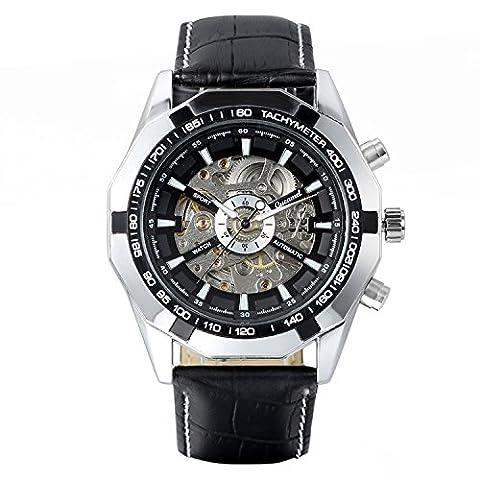 Avaner décontracté pour homme Squelette Cadran Self d'enroulement montre mécanique automatique avec bracelet en cuir noir