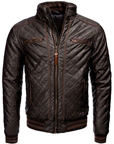 INDICODE Herren gefütterte Lederjacke mit Reißverschluss Kunstlederjacke Black Vintage Style Bikerjacke Herrenjacke Used Look Braun M