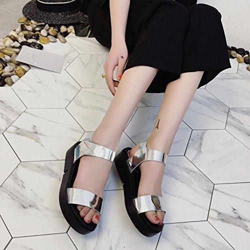 Longra Donna Moda paillettes sandali spessi inferiori Argento