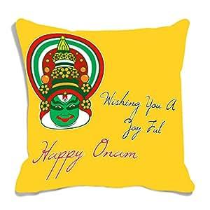 meSleep Yellow Happy Onam Digitally Printed Cushion Cover
