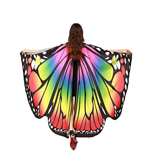 EDOTON Schmetterlingsflügel für Frauen, Nymphe Pixie Kostüm Zubehör Schals Party Cosplay Tanzkostüm (Regenbogen)