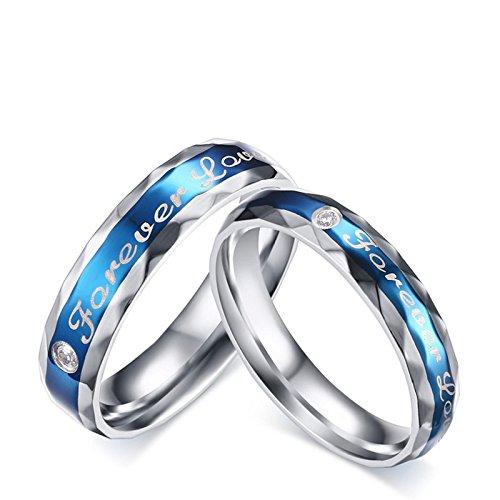 Beydodo 2 Edelstahl Verlobungsringe Nickelfrei mit Gravur Forever Love Zirkonia Trauring Partner Ringe Silber Blau Herren Damen Damen Gr. 49 (15.6) & Herren Gr. 65 (20.7)