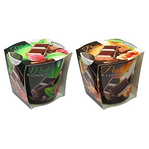 Minze Duftkerze (OLShop AG 2er Set Duftkerzen Mint-Choco-Pear Mint Choco und Pear Choco, Minze-Schokolade und Birne-Schokolade, Schokoduft, Birnenduft, Minzduft, Himbeerduft, Duftglas, Raumduft)