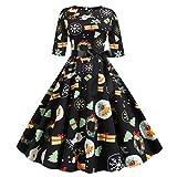 BIKETAFUWY Weihnachtskleid Damen Elegant Hepburn Kleid Langarm A-Linie Weihnachten Gedruckt O-Ausschnitt Partykleider Cocktailkleid Knielang Abendgesellschaft Abendkleid