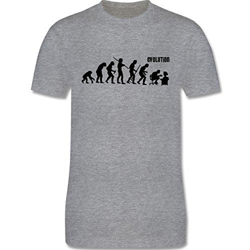 Evolution - Computer Evolution - XXL - Grau meliert - L190 - Premium Kurzarm T-Shirt für Herren