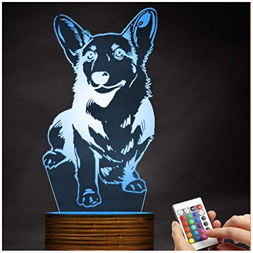 (Chengyd Optische Täuschung 3D LED Lampe Corgi Dog Nachtlicht, USB-Powered Fernbedienung ändert die Farbe des Lichts, Kinder)