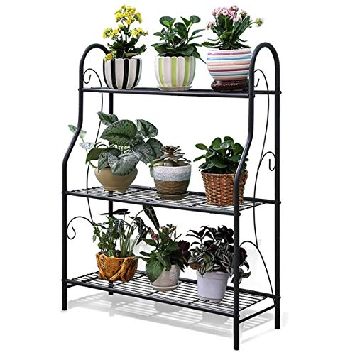 YGH 3-stufiges europäisches Schwarz (Innen- / Außen-Blumenregal aus Eisen) Blumenständer für mehrfunktionalen Pflanzenständer Pflanzenständer Edelstahl-Lagerregal