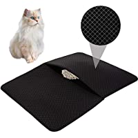 HOVNEE Alfombrilla arenero Gatos Cat Litter Mat 50 * 70cm Impermeable Alfombra de Basura rascadores Litter Trapping Doble Capa Fácil de Limpiar Estera para Gatos