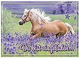 16 Einladungskarten zum Kindergeburtstag - Motiv Pferd - für Kinder, Jungen, Mädchen, Party Feier Geburtstagseinladungen im Set
