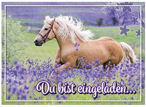 zum Kindergeburtstag - Motiv Pferd - für Kinder, Jungen, Mädchen, Party Feier Geburtstagseinladungen im Set ()