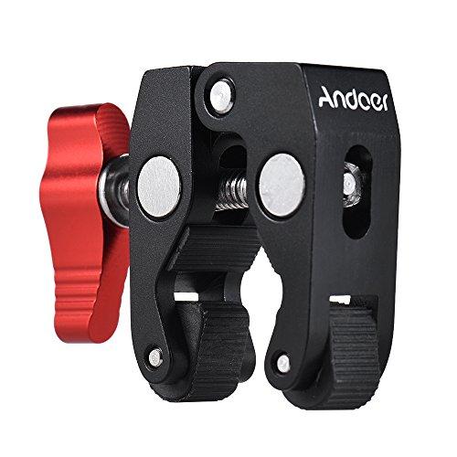 Andoer Multifuncional Abrazadera de Rótula de Bola Montaje de Bola Abrazadera Magic Arm Super Clamp con Rosca 1/4-20 para el Teléfono GPS Monitor LCD/DV Micrófono de Luz de Video con Luz LED y Más