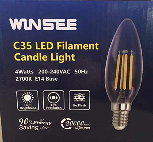 SHINE HAI 9er Pack LED Lampe E14 4W LED Glühfaden, LED Birne als Filament Fadenlampe,40W Entspricht Glühlampe, 470lm,Nicht dimmbar, Warmweiß 2700K,2 Jahre Garantie
