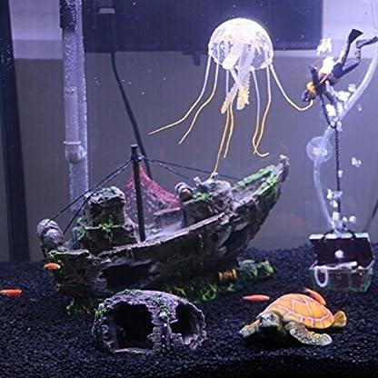 Broadroot Fish Tank Landscape Sailing Boat Shipwreck Shaped Ornament Aquarium Fish Tank Pirate Decor 7