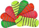 Footstar 8 Paar Sneaker Socken Damen Mädchen, leuchtende neon Farben, gelb grün orange pink, Ringelsocken schön bunt (8 Paar neon gestreift, 39-42)