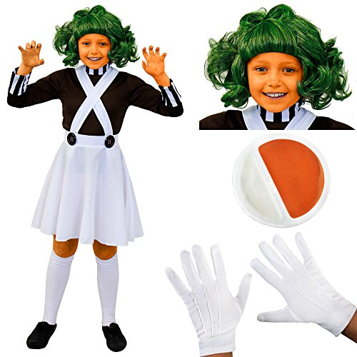 Girls Charlie and The Chocolate Factory Oompa Loompa Costume. 4 sizes from 3 to 12 years