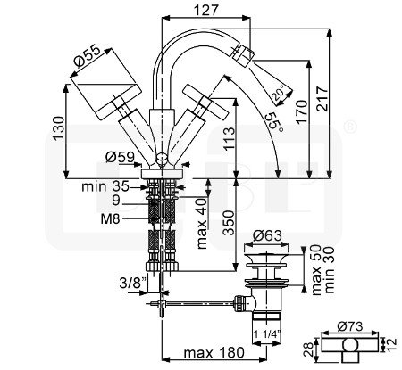 DIBL extra Zweigriff-Bidetbatterie mit Ablaufgarnitur Griffpaar eckig