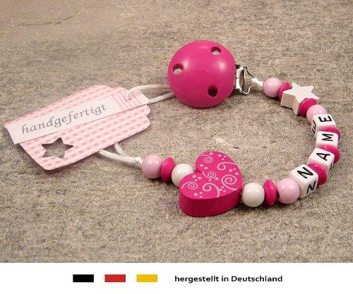 Baby SCHNULLERKETTE mit NAMEN | Schnullerhalter mit Wunschnamen - Mädchen Motiv Herz Ornament in pink