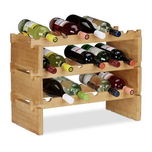 Relaxdays, Natur Weinregal stapelbar, Bambus Flaschenhalter für 18 Flaschen Wein, erweiterbarer Weinständer mit 3 Ebenen, 3 Ablagen