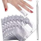 400 Piezas de Papel de Quitaesmaltes Removedor de Gel Empapa Envoltura de Uñas con Empujador de Cutícula para Materiales de Quitaesmaltes