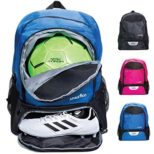 Athletico Jugend Fußball Tasche - Rucksack & Taschen für Basketball, Volleyball & Fußball - für Kinder, Jugendliche, Jungen, Mädchen - inkl. separatem Cleat und Ballfach, blau