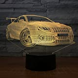 Leisurely Lazy Car Colorful Gradients 3D Optical Illusion Lamp 7 Colors Change and 15 Keys Remote Control Children Kids Bedside Table LED Night Light