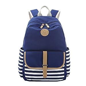 Moollyfox Unisexo A rayas bolso de escuela Mochila Peso ligero Lona Linda Bolsa de viaje para los estudiantes muchachos de las niñas